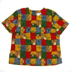 4/$15⚡ Vintage Geometric Chiffon Blouse
